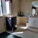 fridge, coffee maker bath area rm 106