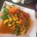 Heerlijke curry kip en madras kip. Verse groenten en specerijen.
