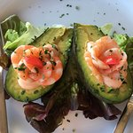Avocado and prawn starter.