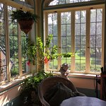 Beautiful sun room with seating, plants and lovely views.