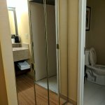 Mirrored closet and toilet area