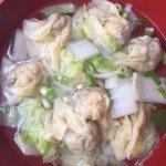 Chicken and prawn dumplings udon soup