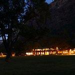 Main lodge at night