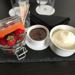 Strawberries, whipped cream and dipping chocolate on arrival!