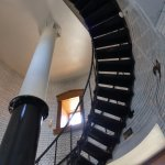bottom section of spiral staircase in lighthouse