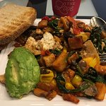 "plant based breakfast option tofu "" scarmble"""