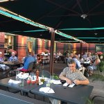 Covered patio behind the restaurant is the perfect place to dine