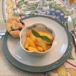 Fresh peaches from NOTL with a scone.