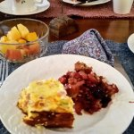My choices for breakfast: egg strata with ham; fresh berry crumble, mixed fruit.
