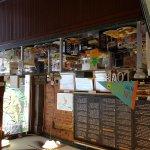 Entrance and inside cafe, mushroom burger