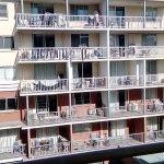 View from balcony of building door