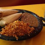 Two Tamale Plate with Rice and Beans