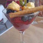 Dessert sorbet mangue et framboise
