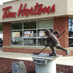 Awesome statue in front of the Tim Hortons