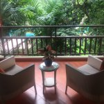 Private terrace area overlooking the pool from our suite