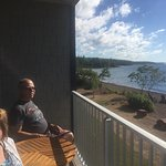 the balcony overlooking Lake Superior