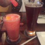 my Strawberry Margarita with rock candy in it & Hubbies beer