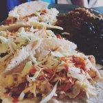 Baja Fish Tacos (made from locally caught Mahi) rice and black beans