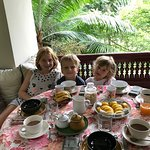 Our breakfast on the private balcony overlooking the garden.