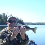 Hubby holding one the fish I caught.