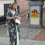 """Our guide, Emma, aka """"Lydia Mulliken."""" We started at Faneuil Hall/Quincy Market."""