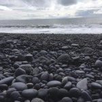 Black rock sand beach