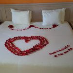 Rose petals on the bed in honor of our honeymoon