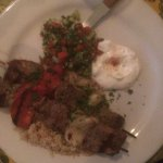 Lamb Kebabs with rice and tabbouleh