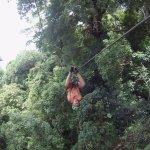 Crazy kid ziplining upside down.