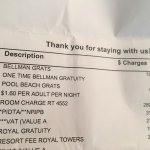 Notice all of the additional fees each night. The bellman gratis is a onetime fee of $18. Do not