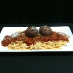 Linguini with Mamma's meat sauce and meatballs.