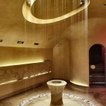 Stunning rainfall shower as you enter the spa with sauna on the right, scented showers on the le