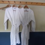 robes provided to walk to the bathroom