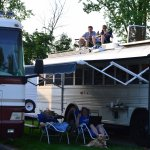 The boys on top of the bus/camper - you can see how close the spots are.