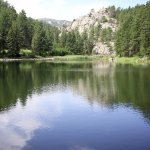 Lakes and rocks in Custer State Park, great atmosphere, but not peaceful during Bike Week.