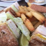 Turkey Club Sandwich and Fries