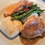 Second course - chicken, pork, loaded mashed potatoes, fresh green beans and a roll. Delish!