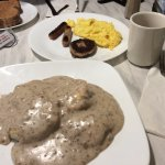 Biscuits and gravy + bonus sausage links with sausage and scrambled eggs order