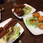 Sheehk kebabs, bhajis and egg pakodas