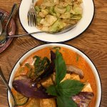 Red curry, chilli cabbage