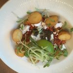 hake, cucumber noodles, stew, roasted potatoes, goats cheese