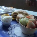 bagel, cream cheese, fruit