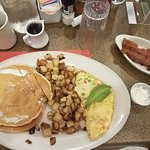 The Marylander, homefries, side of pancakes and bacon