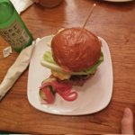 Shindig burger. Rather tasteless meat. Pickled onions are really good
