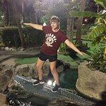 World traveller hangs ten on one of the gators.