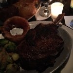 28 oz bone-in ribeye with brussel sprouts