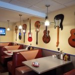 When you know you are in a real diner, guitars on the wall!