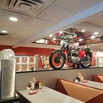 . . . and a full size motorcycle as a wall decoration. All great fun!