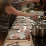 guests enjoying co producing the dessert !