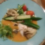 steamed drumfish with a fish broth and ochra